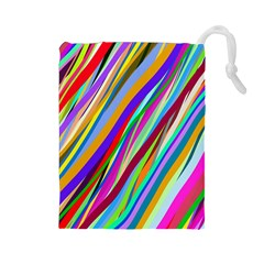 Multi Color Tangled Ribbons Background Wallpaper Drawstring Pouches (large)