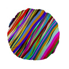 Multi Color Tangled Ribbons Background Wallpaper Standard 15  Premium Flano Round Cushions