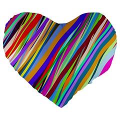 Multi Color Tangled Ribbons Background Wallpaper Large 19  Premium Flano Heart Shape Cushions