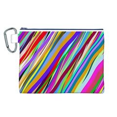 Multi Color Tangled Ribbons Background Wallpaper Canvas Cosmetic Bag (l)