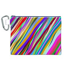 Multi Color Tangled Ribbons Background Wallpaper Canvas Cosmetic Bag (xl)