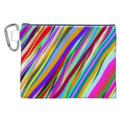 Multi Color Tangled Ribbons Background Wallpaper Canvas Cosmetic Bag (xxl)