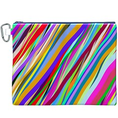 Multi Color Tangled Ribbons Background Wallpaper Canvas Cosmetic Bag (xxxl)