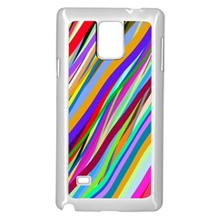 Multi Color Tangled Ribbons Background Wallpaper Samsung Galaxy Note 4 Case (White)