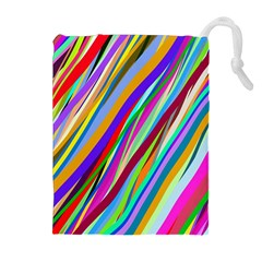 Multi Color Tangled Ribbons Background Wallpaper Drawstring Pouches (Extra Large)