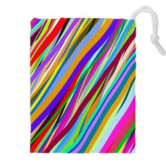 Multi Color Tangled Ribbons Background Wallpaper Drawstring Pouches (xxl)