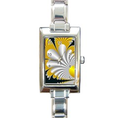Fractal Gold Palm Tree On Black Background Rectangle Italian Charm Watch