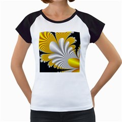 Fractal Gold Palm Tree On Black Background Women s Cap Sleeve T