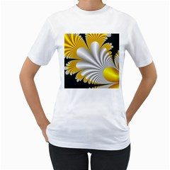 Fractal Gold Palm Tree On Black Background Women s T-Shirt (White) (Two Sided)