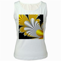 Fractal Gold Palm Tree On Black Background Women s White Tank Top