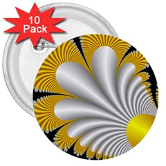 Fractal Gold Palm Tree On Black Background 3  Buttons (10 pack)