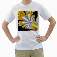 Fractal Gold Palm Tree On Black Background Men s T Shirt (white) (two Sided)