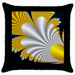 Fractal Gold Palm Tree On Black Background Throw Pillow Case (black)