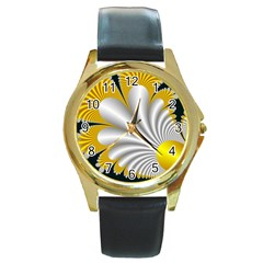 Fractal Gold Palm Tree On Black Background Round Gold Metal Watch