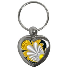 Fractal Gold Palm Tree On Black Background Key Chains (heart)