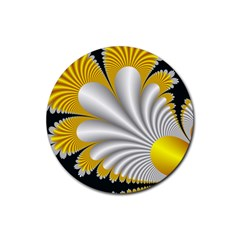 Fractal Gold Palm Tree On Black Background Rubber Coaster (round)