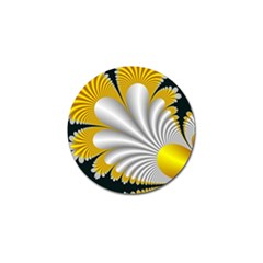Fractal Gold Palm Tree On Black Background Golf Ball Marker