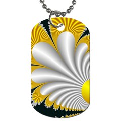 Fractal Gold Palm Tree On Black Background Dog Tag (two Sides)