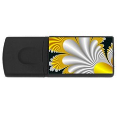Fractal Gold Palm Tree On Black Background USB Flash Drive Rectangular (2 GB)
