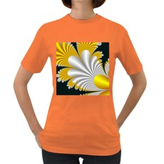 Fractal Gold Palm Tree On Black Background Women s Dark T-Shirt