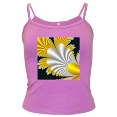 Fractal Gold Palm Tree On Black Background Dark Spaghetti Tank