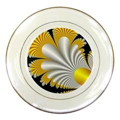 Fractal Gold Palm Tree On Black Background Porcelain Plates