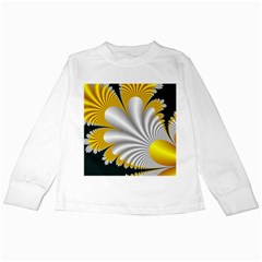 Fractal Gold Palm Tree On Black Background Kids Long Sleeve T Shirts