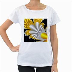 Fractal Gold Palm Tree On Black Background Women s Loose Fit T Shirt (white)