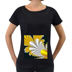 Fractal Gold Palm Tree On Black Background Women s Loose Fit T Shirt (black)