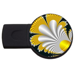 Fractal Gold Palm Tree On Black Background Usb Flash Drive Round (4 Gb)