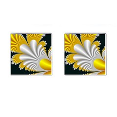 Fractal Gold Palm Tree On Black Background Cufflinks (square)