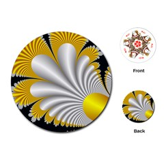 Fractal Gold Palm Tree On Black Background Playing Cards (round)