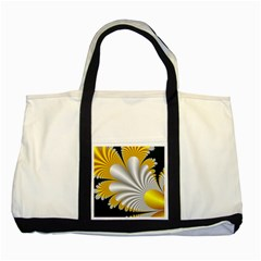 Fractal Gold Palm Tree On Black Background Two Tone Tote Bag