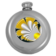 Fractal Gold Palm Tree On Black Background Round Hip Flask (5 Oz)