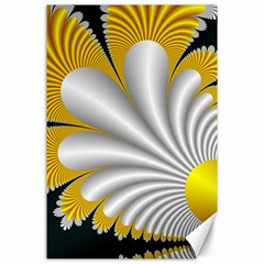 Fractal Gold Palm Tree On Black Background Canvas 24  X 36