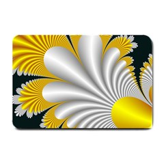 Fractal Gold Palm Tree On Black Background Small Doormat