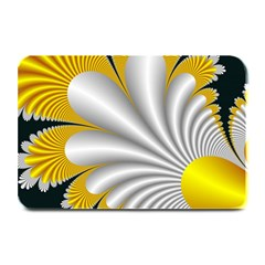 Fractal Gold Palm Tree On Black Background Plate Mats