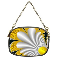 Fractal Gold Palm Tree On Black Background Chain Purses (two Sides)
