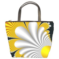 Fractal Gold Palm Tree On Black Background Bucket Bags