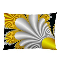 Fractal Gold Palm Tree On Black Background Pillow Case