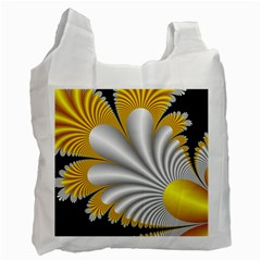 Fractal Gold Palm Tree On Black Background Recycle Bag (One Side)