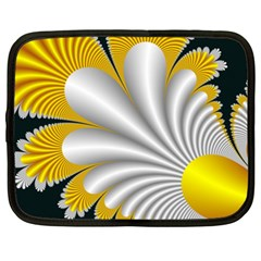 Fractal Gold Palm Tree On Black Background Netbook Case (XXL)
