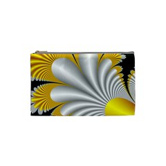 Fractal Gold Palm Tree On Black Background Cosmetic Bag (Small)