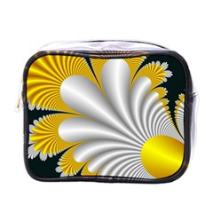 Fractal Gold Palm Tree On Black Background Mini Toiletries Bags