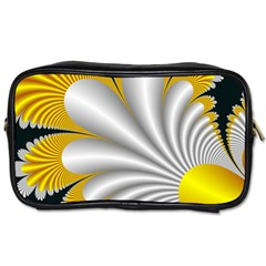 Fractal Gold Palm Tree On Black Background Toiletries Bags
