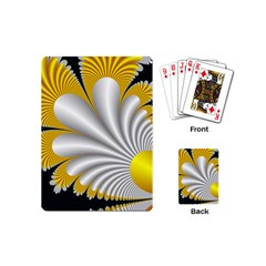 Fractal Gold Palm Tree On Black Background Playing Cards (mini)