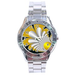 Fractal Gold Palm Tree On Black Background Stainless Steel Analogue Watch