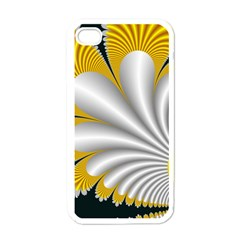 Fractal Gold Palm Tree On Black Background Apple Iphone 4 Case (white)