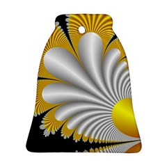 Fractal Gold Palm Tree On Black Background Bell Ornament (Two Sides)