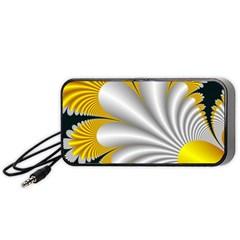Fractal Gold Palm Tree On Black Background Portable Speaker (black)